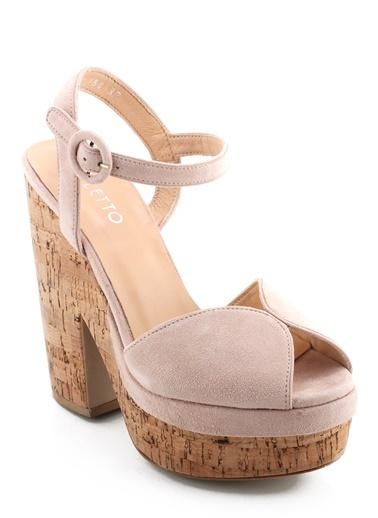 Poletto Kalın Topuklu Sandalet Pembe